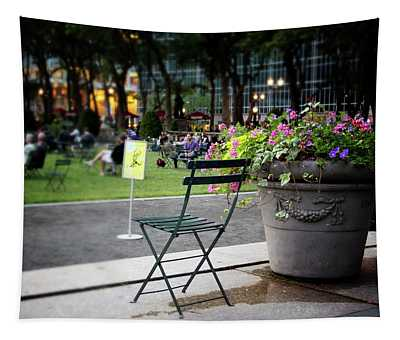 Evening In Bryant Park- Photography By Linda Woods Tapestry