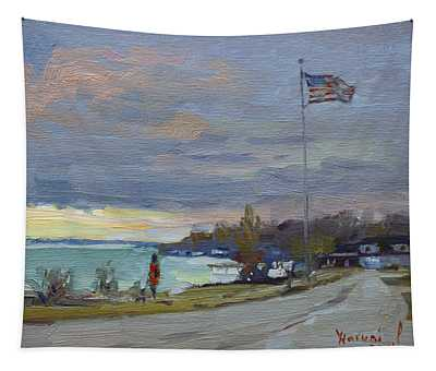 Evening In Gratwick Waterfront Park Tapestry