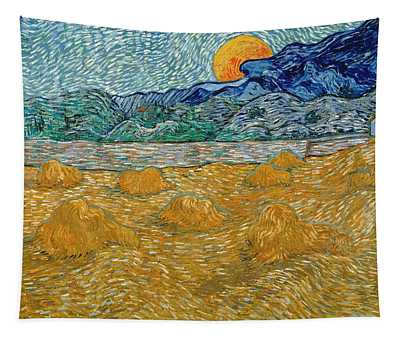 Tapestry featuring the painting Evening Landscape With Rising Moon by Van Gogh