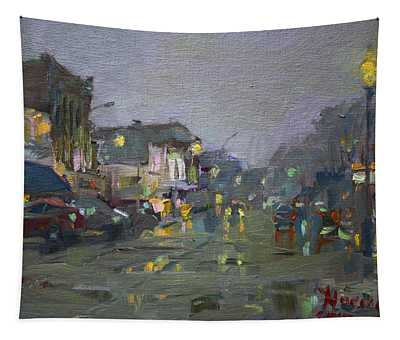 Evening Rain At Webster St Tapestry