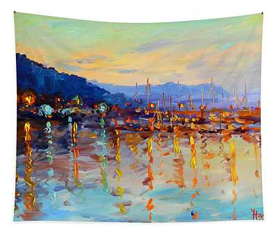 Evening Reflections In Piermont Dock Tapestry