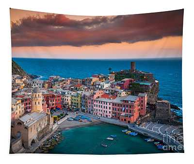Evening Rolls Into Vernazza Tapestry