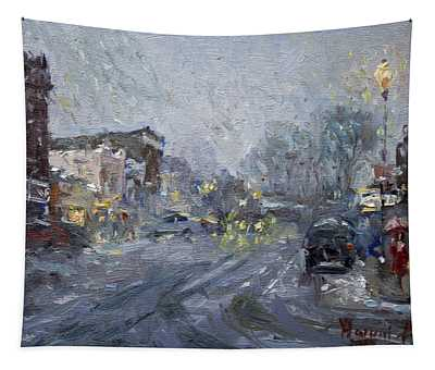 Evening Snowfall At Webster St Tapestry