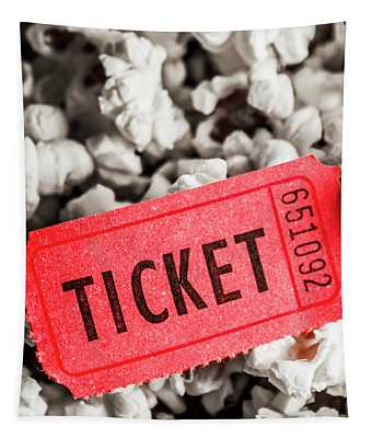 Event Ticket Lying On Pile Of Popcorn Tapestry