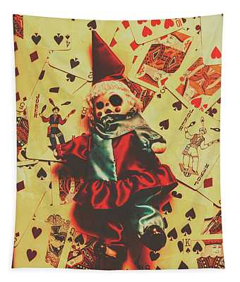 Evil Clown Doll On Playing Cards Tapestry