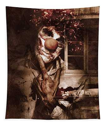 Evil Clown Musing With Scary Expression Tapestry