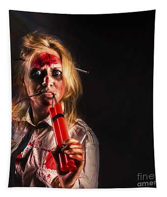 Evil Female Halloween Zombie Holding Bomb Tapestry