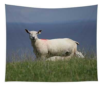 Ewe Guarding Lamb Tapestry