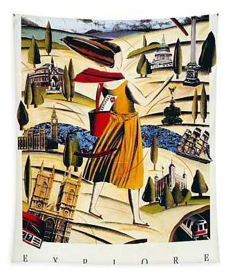 Explore London With A London Transport Explorer Pass - London Underground - Retro Travel Poster Tapestry