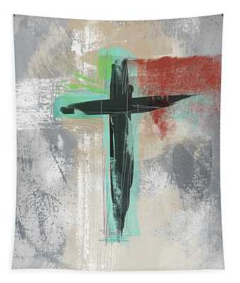 Expressionist Cross 3- Art By Linda Woods Tapestry