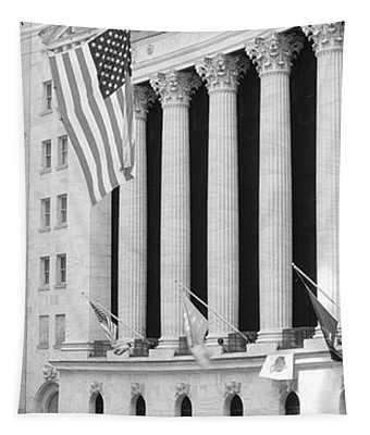 Facade Of New York Stock Exchange, Manhattan, New York City, New York State, Usa Tapestry