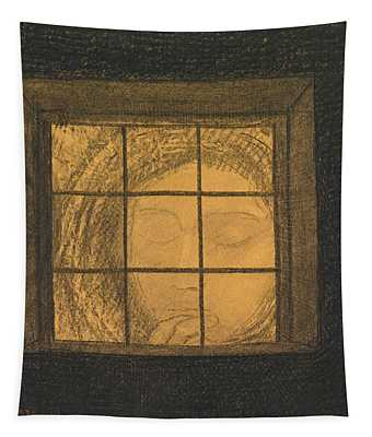 Face Behind A Window  Tapestry