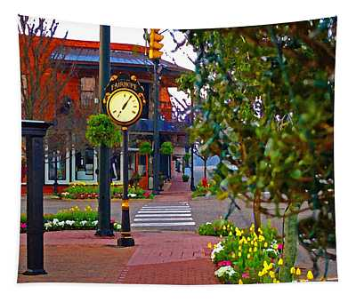 Fairhope Ave With Clock Down Section Street Tapestry
