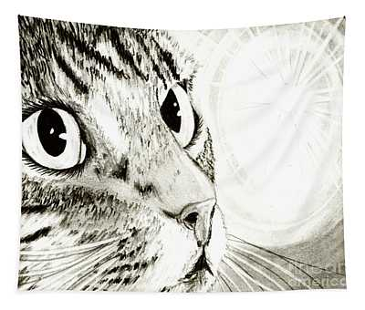 Fairy Light Tabby Cat Drawing Tapestry