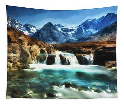 Fairy Pools, Isle Of Skye, With An Impressionist Paint Effect. Tapestry