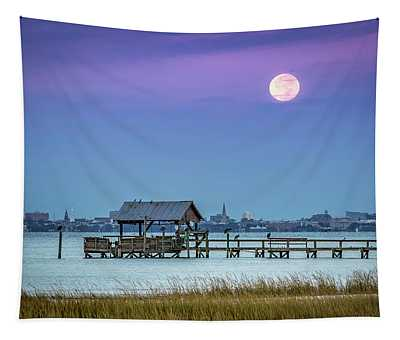 Fall Moon And King Tide - Charleston Sc Tapestry