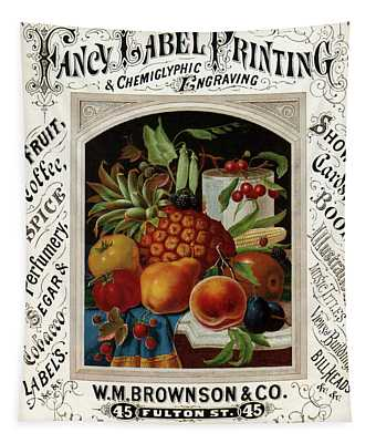 Fancy Label Printing And  Chemiglyphic Engraving - Vintage Advertising Poster Tapestry