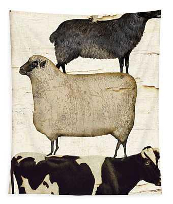 Farm Animals Pileup Tapestry