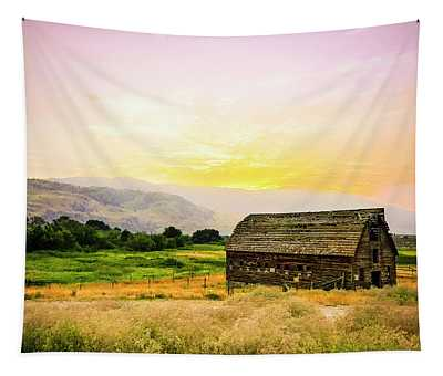 Twilight At The Okanagan Farm House Canada Tapestry