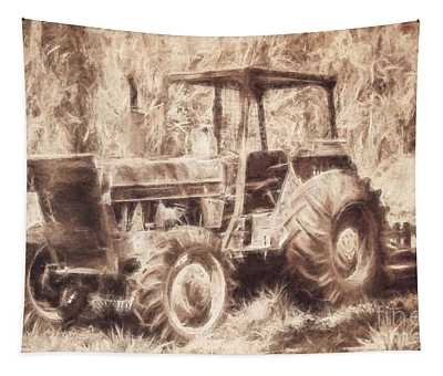Farmers Tractor Working In Australia Farmyard Tapestry