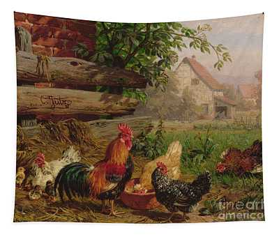 Farmyard Chickens Tapestry