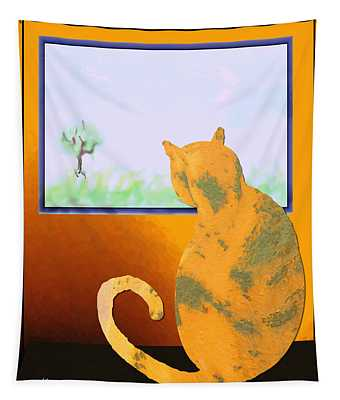 Fat Cat At Her Window Tapestry