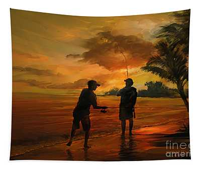 Father And Son Fishing Tapestry