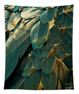 Feather Glitter Teal And Gold Tapestry