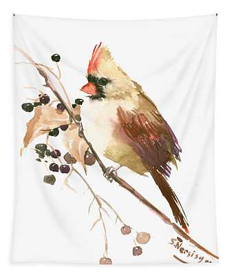 Female Cardinal Bird Tapestry