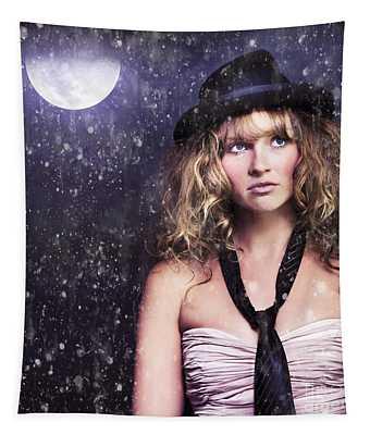 Female Moon Light Night Performer Acting In Rain Tapestry