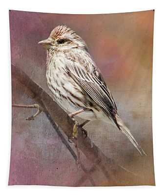 Female Sparrow On Branch Ginkelmier Inspired Tapestry
