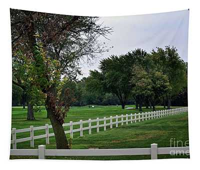 Fence On The Wooded Green Tapestry