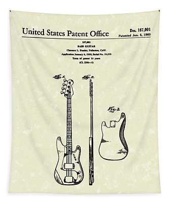 Fender Bass Guitar 1960 Patent Art Tapestry