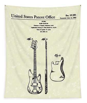 Fender Bass Guitar 1960 Patent Art Tapestry