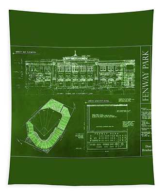 Fenway Park Blueprints Home Of Baseball Team Boston Red Sox Tapestry