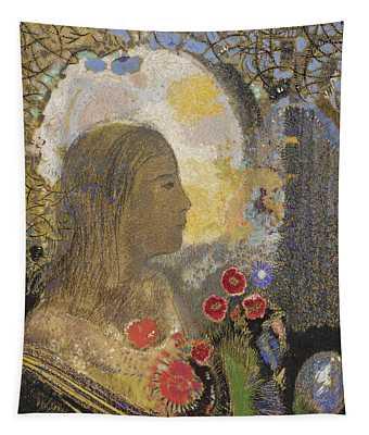 Fertility. Woman In Flowers Tapestry
