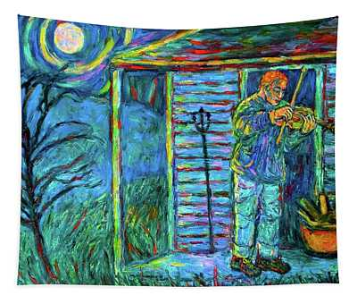 Fiddling At Midnight's Farm House Tapestry