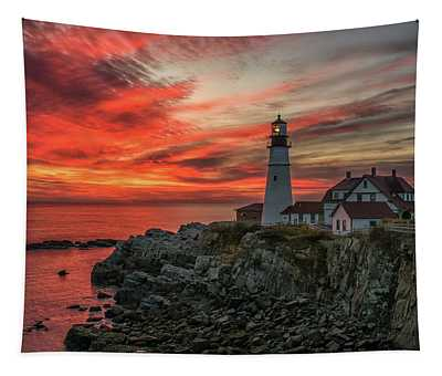 Fiery Sunrise At Portland Head Light Tapestry