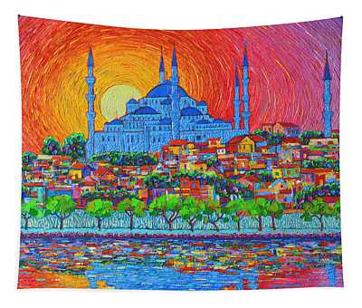 Fiery Sunset Over Blue Mosque Hagia Sophia In Istanbul Turkey Tapestry