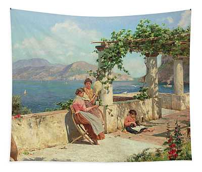 Figures On A Terrace In Capri  Tapestry