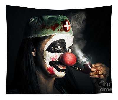 Fine Art Horror Portrait. Smoking Surgeon Clown Tapestry