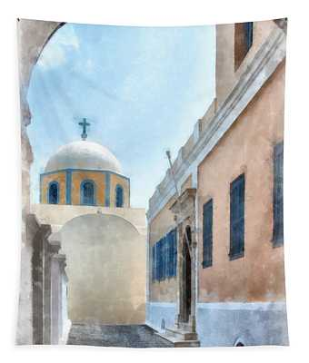 Fira Catholic Cathedral Digital Watercolor Painting Tapestry