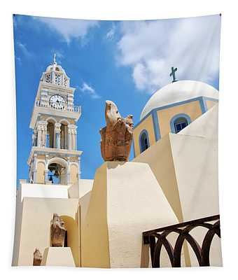 Fira Catholic Cathedral On Santorini Tapestry
