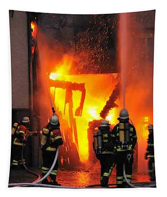 Fire - Burning House - Firefighters Tapestry