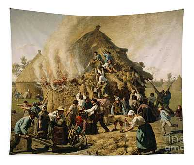 Fire In A Haystack, 1856 Tapestry