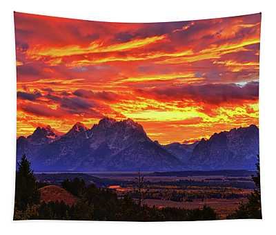 Fire In The Teton Sky Tapestry