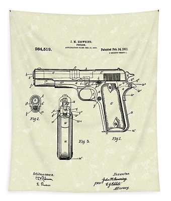 Firearm 1911 Patent Art Tapestry