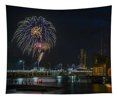 Fireworks And 17th Street Docks Tapestry