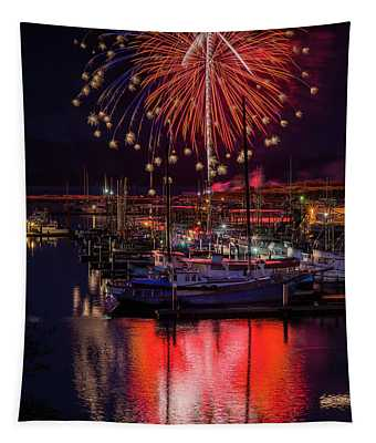 Fireworks At The Docks Tapestry