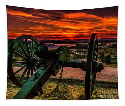 Firey Sky At Little Round Top Tapestry